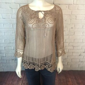 Cato Floral Crochet Top Small Boho Festival Brown